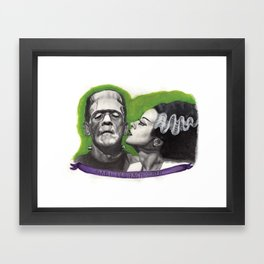 Watercolor Painting of Frankenstein & Bride Framed Art Print