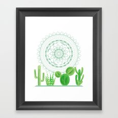 Festive Mint Cactus and Mandala Framed Art Print