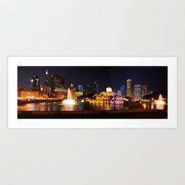 Chicago skyline and Buckingham Fountain at night. Art Print