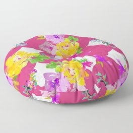 Bright florals with Pink Yarrow Floor Pillow