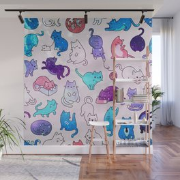 Space Cats Pattern Wall Mural