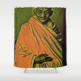 Ghandi Standing Artistic Illustration Oriental Spice Style Shower Curtain