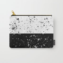 Black and White Splatter Watercolor on Black and White Horizontal Blocks Carry-All Pouch
