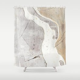 Feels: a neutral, textured, abstract piece in whites by Alyssa Hamilton Art Shower Curtain