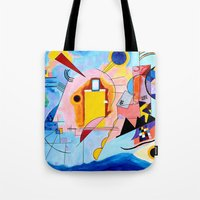 kandinsky Tote Bags featuring Yellow Red Blue - Tribute to Kandinsky by ArtvonDanielle