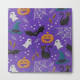 Halloween realistic embroidery print on purple Metal Print