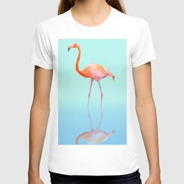 Low Poly Flamingo with reflection T-shirt