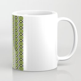 1960's Inspired Green, Yellow, Black and White Pattern Coffee Mug