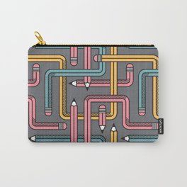 Pencil Maze Pattern pastel grey multi Carry-All Pouch