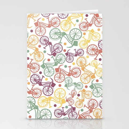 Whimsical bicycle pattern & retro polka dots Stationery Cards