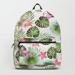Stylish foliage and flamingo birds tropical motif design Backpack