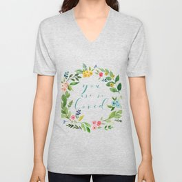 You Are So Loved floral wreath teal Unisex V-Neck