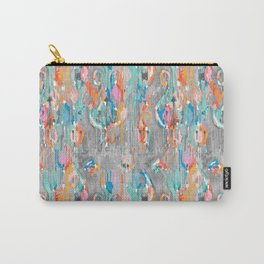 rainy day balinese ikat mini Carry-All Pouch