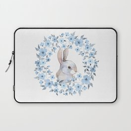 Rabbit and floral wreath. Watercolor Laptop Sleeve