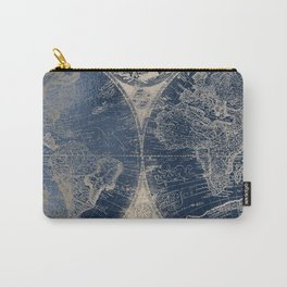 Antique World Map Gold Navy Blue Library Carry-All Pouch