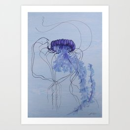 Blue Jellyfish 10 Art Print