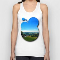 airplanes Tank Tops featuring Condensation trail with some scenery by Patrick Jobst