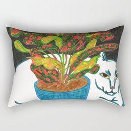 Cat with House Plant Rectangular Pillow