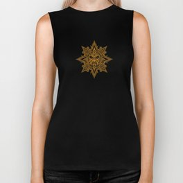 Ancient Yellow and Black Aztec Sun Mask Biker Tank