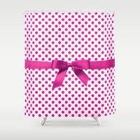 polkadot Shower Curtains featuring Pink Polkadot - Ribbon by albert Junior