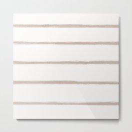 Skinny Strokes Gapped Horizontal Nude on Off White Metal Print