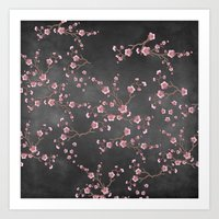 SAKURA LOVE - GRUNGE BLACK Art Print