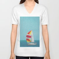 sailboat V-neck T-shirts featuring Bright Sailboat by Pure Nature Photos