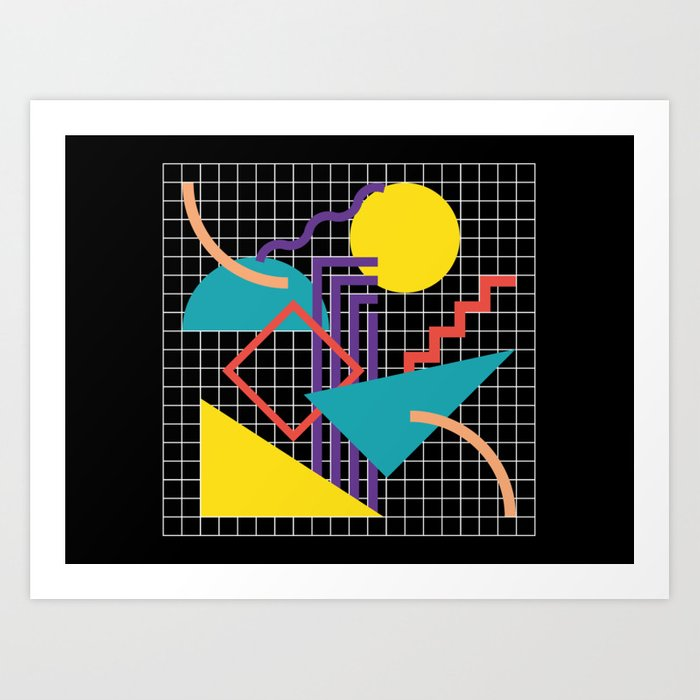Memphis Pattern - 80s Retro Black Kunstdrucke