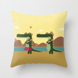 Crocodiles Hula Hula Throw Pillow