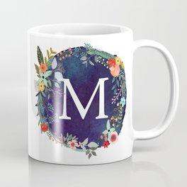 Personalized Monogram Initial Letter M Floral Wreath Artwork Coffee Mug
