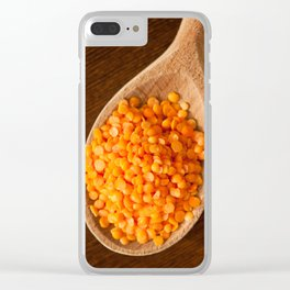 Healthy food red lentils on wooden spoon Clear iPhone Case