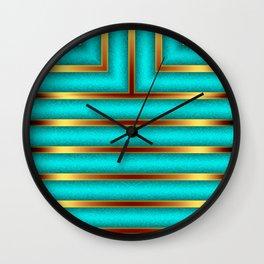 Art Deco Geometric Green and Gold Column Pattern Wall Clock