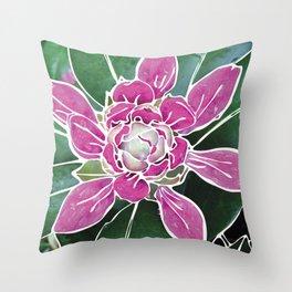 Batik Rhododendron Throw Pillow