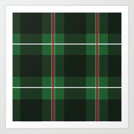 Red, Black and Green Striped Plaid Art Print