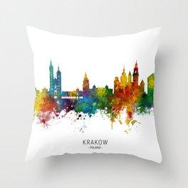 Krakow Poland Skyline Throw Pillow