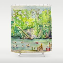 Krause Springs - historic Texas natural springs swimming hole Shower Curtain