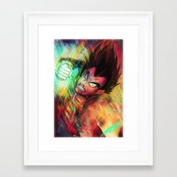 vegeta Framed Art Prints featuring Vegeta by Andre Beja