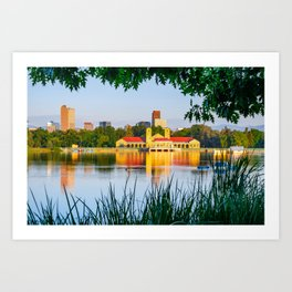 Denver Morning Skyline City Reflections - City Park View Art Print