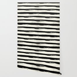 Tribal Paint Stripes Black and Cream Wallpaper