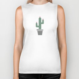 Solitary cactus on a yellow wall Biker Tank