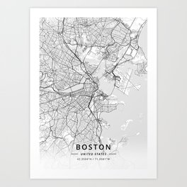 Boston, United States - Light Map Art Print