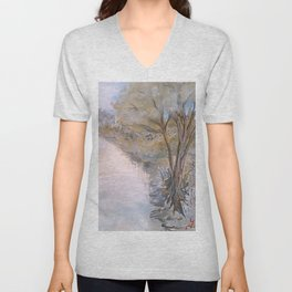 By The River Bank Unisex V-Neck