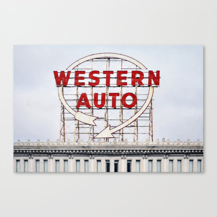 Historic Vintage Western Auto Neon Sign In Downtown Kansas City