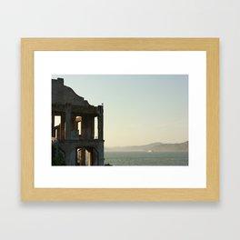 Abandoned building on Alcatraz Framed Art Print