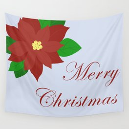 Poinsettia-Merry Christmas Wall Tapestry