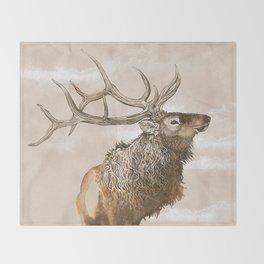 Misty Morning Elk Throw Blanket