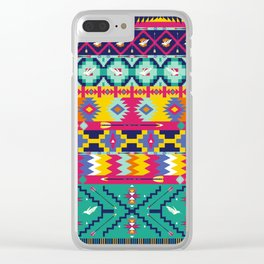 Seamless colorful aztec pattern with birds Clear iPhone Case