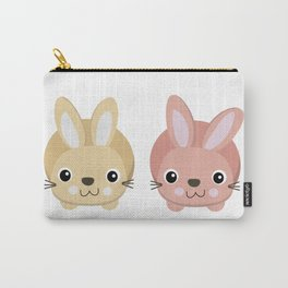 Cute pink and yellow rabbit cartoon Carry-All Pouch