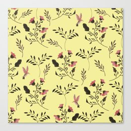Rose Hummingbirds and Pink Flowers in Butter Yellow Floral Pattern with Pink Flowers and Bark Brown Canvas Print