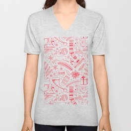 Doodle Christmas pattern red Unisex V-Neck